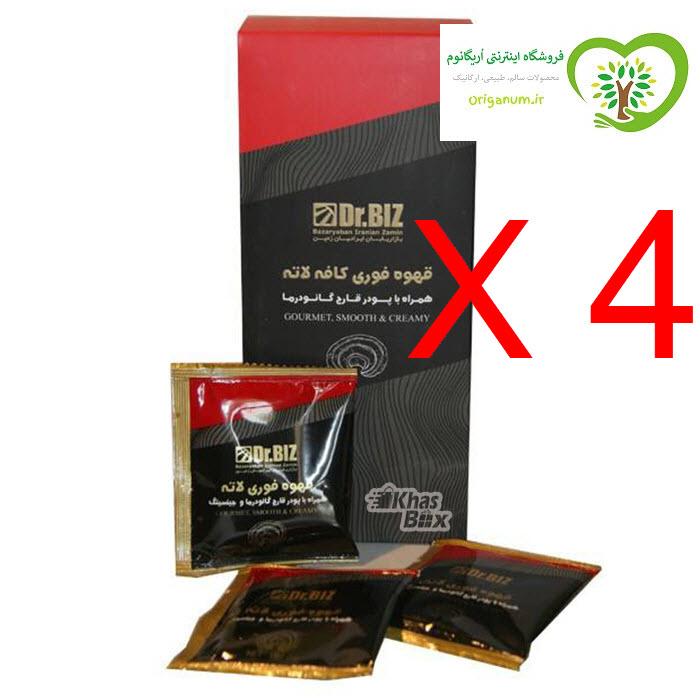 پک 4 بسته ای قهوه فوری لاته دکتر بیز_ قارچ گانودرما  20 عددی